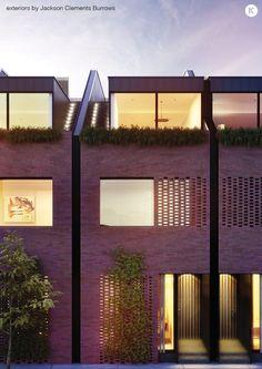Luxury townhouses bring together Melbourne design talents Modern Townhouse, Townhouse Designs, Residential Architecture, Architecture Design, Fibreglass Roof, Brick Facade, Beautiful Buildings, Exterior, Melbourne