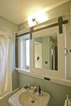 Slide To Hide Mirror In Wall Behind Shower Great For Small Bath With Window That