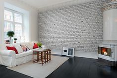 Hey, look at this wallpaper from Rebel Walls, Brick Wall, white! #rebelwalls #wallpaper #wallmurals