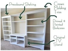 DIY built-in shelving. This shelf would be perfect for the office, stained in a dark tone!