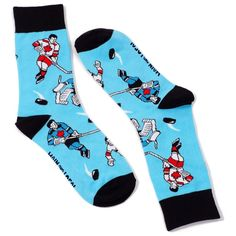 Canadian Retro Hockey Player Socks by Main and Local