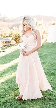 Peach bridesmaid dress with leopard sandals. @weddingchicks