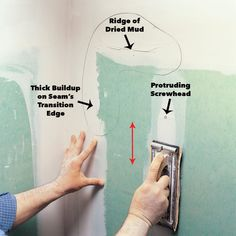 How to Sand Drywall Drywall Tape, Drywall Ceiling, Drywall Repair, Sanding Tips, Hanging Drywall, Drywall Finishing, Framing Construction, Drywall Installation, Homes