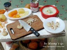③ 양송이만들기 - 양송이스프(mushroom soup) [묭스 미니어쳐] : 네이버 블로그