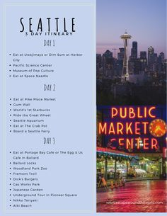 A Seattle itinerary perfect for a 3 day weekend trip. This Seattle itinerary covers restaurants museums parks landmarks history and much more. Travel List, Us Travel, Travel Guides, Places To Travel, Travel Destinations, Round Travel, Travel Flights, Baby Travel, Travel Mugs