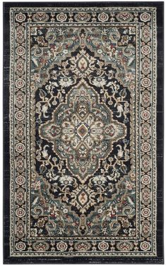 Safavieh Lyndhurst Anthracite and Teal 3'3 x 5'3 Area Rug