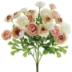 Find beautiful silk flowers like this gorgeous mini ranunculus silk bush in pink ivory online at Afloral.com. This romantic pink ivory ranunculus bush with blush accents offers you the perfect way to