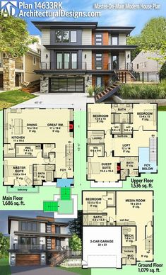 Modern House Plans : Architectural Designs Modern House Plan 14633RK gives you 5 beds including a mas