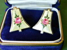 Vintage Guilloche Enamel Pink Rose Bell Shaped Screw On Earrings, Antique Rose Earrings by dazzledbyvintage on Etsy