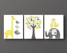 Art for children, nursery art print, baby nursery decor, Kids art, yellow, gray, giraffe, elephant, bird, Tree, Set of three 8x10 prints
