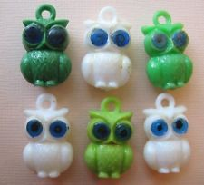 1960's VINTAGE Plastic OWL Gumball Charm Toy Bird Prize Lot of 6