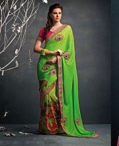 Picture of Divine Green Designer Saree