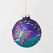 Purple Ball with Butterfly Ornament