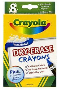"dry erase crayons Can't wait to try them!  Technically, I think ALL crayons are ""dry erase"" because they are wax, but maybe these are special so that the color doesn't stain?"