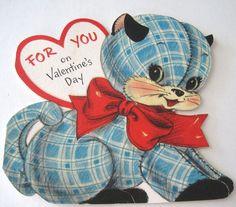Vintage Valentine Greeting Card HALLMARK 1958 Fuzzy Kitten Cat