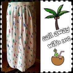 """Just In  Vintage Sailboat Maxi AMAZING unique sailboat patterned long skirt from David Brooks.  This skirt would look awesome with a tucked in t-shirt or solid colored crop top. Super lightweight with flattering pleats in the front and two front pockets. Condition: EUC - free of rips, stains, odors.  Great condition considering its age! Material: 100% cotton - tag reads """"sateen"""" Size: 10 Length: 33"""" Waist: 28"""" unstretched (TONS of stretch available as waist is elastic) Vintage Skirts Maxi"""