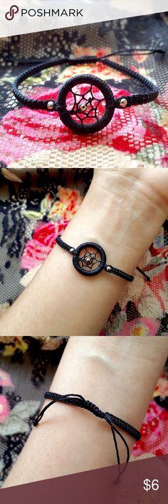Black Dream Catcher Beaded Bracelet 10% DISCOUNT WHEN BUNDLED! Plus you get a free bracelet| Coachella/BurningMan/rock/edc/raves/Friendship/Weaved/Geometric/Boho/Gypsy/Bohemian/Aztec/Pattern •Handmade by skilled Peruvian artisans! •Black macrame sting bracelet w/ a small silver bead on each side & center of dream catcher. ⓢⓘⓩⓔ: Adjustable knot Jewelry Bracelets
