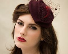 Veiled Cocktail Hat in Wool Felt a Chic Tea Party Hat - Georgette