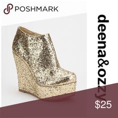 Deena &Ozzy glitter wedge booties Sparkle day and night with these fun booties! Super cute I just don't wear them anymore. The were loved but are still in good used condition. ❌NO TRADES❌ priced to sell! Tight footbed lining coming unglued but it doesn't affect wear Deena & Ozzy Shoes Ankle Boots & Booties