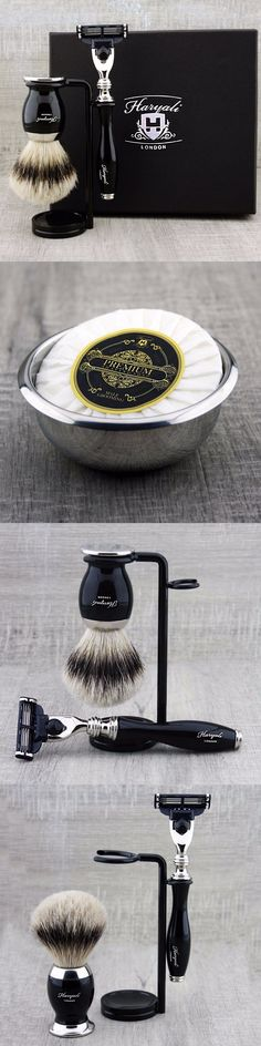 Shaving Brushes and Mugs: 5 Piece Shaving Set |Gillette Mach3 And Silvertip Badger Brush| Top Mens Gift Kit -> BUY IT NOW ONLY: $59.99 on eBay!