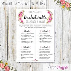 Personalised Bridal Scavenger Hunt Printable Pink by WhimsyChuffed