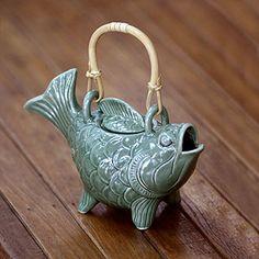 """Novica """"Lucky Koi"""" Ceramic Teapot"""