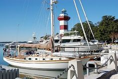 Boats, clear blue sky, lighthouse . . . love Harbour Town!
