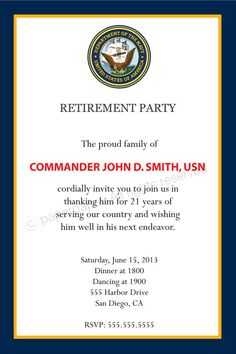 6c058dd190c8e95b99937f60ecdd7458 military retirement parties retirement celebration military retirement party invitations military retirement,Military Invitation Template
