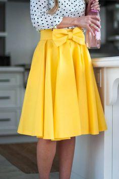 White top yellow bow skirt