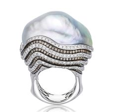 BELPEARL baroque pearl Azur ring