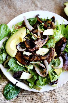Green Salad Marinated Portabella Steaks