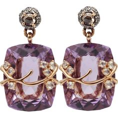 Federica Rettore Amethyst Drop Earrings ($8,190) ❤ liked on Polyvore featuring jewelry, earrings, purple, 18k earrings, amethyst jewelry, 18k gold earrings, 18 karat gold earrings and pandora jewelry