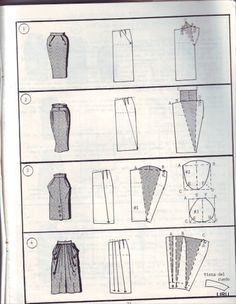 Verschiedene Rockschnitte - Different Skirt Pattern. I like number 4 Diy Clothing, Sewing Clothes, Clothing Patterns, Sewing Patterns, Shirt Patterns, Sewing Hacks, Sewing Tutorials, Sewing Crafts, Techniques Couture