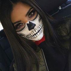 Skull Face Halloween Makeup # Skull Skull face Halloween make-up up Halloween Makeup Skull, Visage Halloween, Sugar Skull Halloween, Halloween Outfits, Scary Halloween, Pretty Halloween, Halloween Party, Halloween Costumes, Skull Candy Makeup