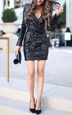 Get the party started in this stunning mini dress. The most eye-catching is its plunging neckline and full black sequin design. Get one for the coming festivals and parties at Fichic.com!