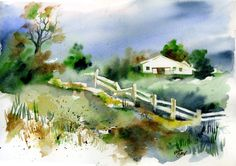 Original Watercolor Painting Country Landscape Wall Art/ Decoration 11X14 by Kristin Glaze