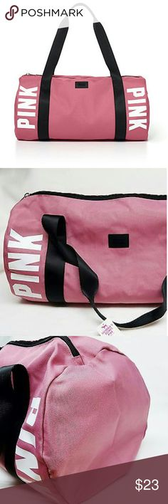 Victoria's Secret Pink  Gym Bag Victoria's Secret Pink  Gym Bag  BEGONIA PINK COLOR  Arm candy alert! This duffle bag is perfect for the gym, quick getaways or packing up for Spring Break. Only by Victoria?s Secret PINK.  Top zipper  Long adjustable strap  Two-handle straps  10?H x 20?L; 9 1/2? drop handle  Imported polyester  BRAND NEW! PINK Victoria's Secret Bags Totes