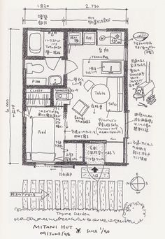 I wish I could read Japanese! Small House Layout, House Layouts, Small House Plans, House Floor Plans, Architecture Concept Drawings, Architecture Plan, Muji Hut, Floor Plan Sketch, Hotel Floor Plan