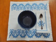 Set of 4 Vintage Placemats and Napkins, Blue and White Danish Styled Cross Stitched, Antique Home Decor, Antique Linens