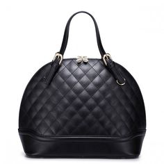 Bucket Leather Black Bag With Gold Zipper
