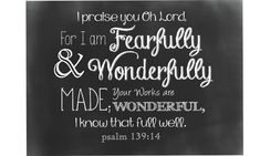 PRINTED Psalm 139:14 Fearfully and Wonderfully Made Chalkboard Baby Nursery Baby shower gift under 20 Print or Card option