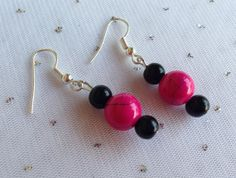 Hot Pink Earrings Pink and Black Jewelry by CherishedJewelryCo, $12.00