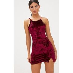 Wine Crushed Velvet Straight Neck Bodycon Dress ($20) ❤ liked on Polyvore featuring dresses, red, cocktail party dress, body con dress, bodycon party dresses, party dresses and crushed velvet dress