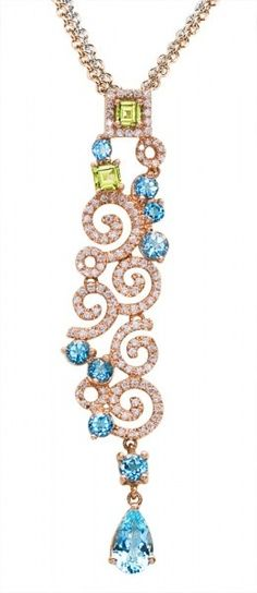 Simon G Peridot & Aquamarine Pendant