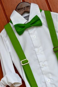 Dressed to Thrill - 2014 Christmas Collection - Solid Green Suspenders with Matching Bowtie www.idresstothrill.com