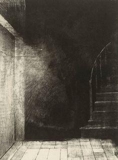 Odilon Redon, La maison hantée: Je vis une lueur large et pale (1896 - Lithograph on chine appliqué)