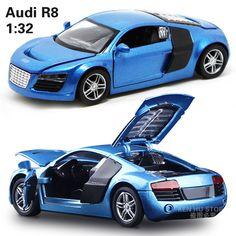 1:32 enfants jouets AD R8 métal jouet voitures modèle pour enfants musique son pull back voiture miniatures cadeaux pour les garçons