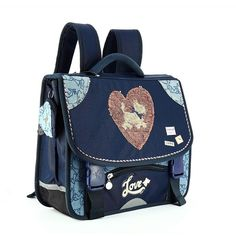 www.maxirentree.fr Cartable CHIPIE Heart Sequin 38 cm - 2 compartiments Fashion Backpack, Backpacks, Products, Book Bags, Suspenders, Bag, Backpack, Beauty Products, Gadget