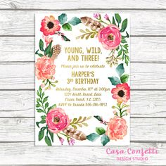 Young, Wild, and Three is such a cute 3rd birthday theme, and this invitation is sure to set the stage for a memorable party! Beautiful floral wreath and super cute gold foil writing make it the perfect design for your little girls birthday celebration!  This listing allows you either: (1) to purchase your invitation as a digital file only; or (2) to purchase as many PRINTED invitations as you need. Simply use the drop-down menu to choose. Both options include a FREE matching back for your…