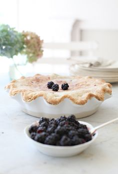 Easy Blackberry Pie  1. Cup of Sugar  1/3 c. flour  1/2 tsp. of cinnamon  4 Cups of Blackberries  1 TBL. butter  Mix all ingredients together and add to an unbaked pastry shell. Bake for 35 to 45 minutes on 425.